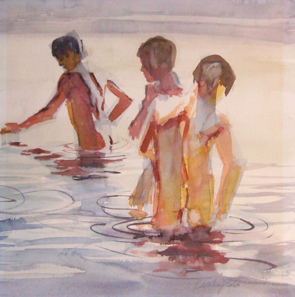 6: Katrell - Nude Bathers Watercolor