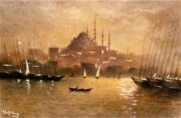 36: Turkish Moonlit Harbor Watercolor