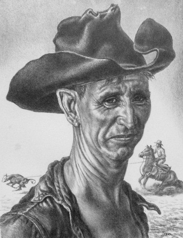 40: Charles Banks Wilson - Cowboy Lithograph