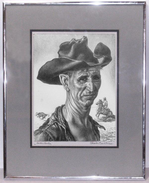 40: Charles Banks Wilson - Cowboy Lithograph - 2