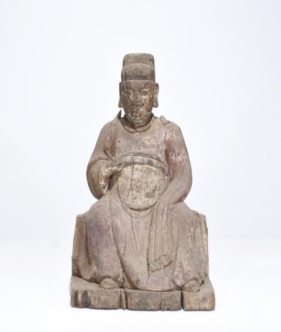 Chinese carved wood statue