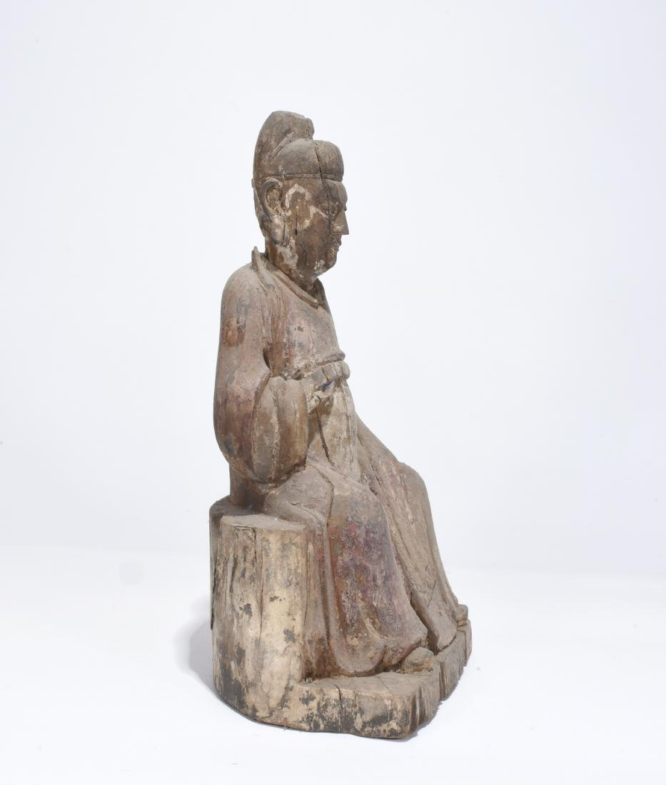 Chinese carved wood statue - 2