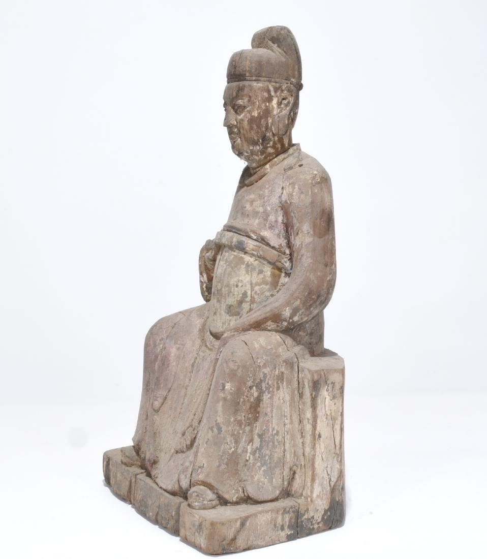 Chinese carved wood statue - 3