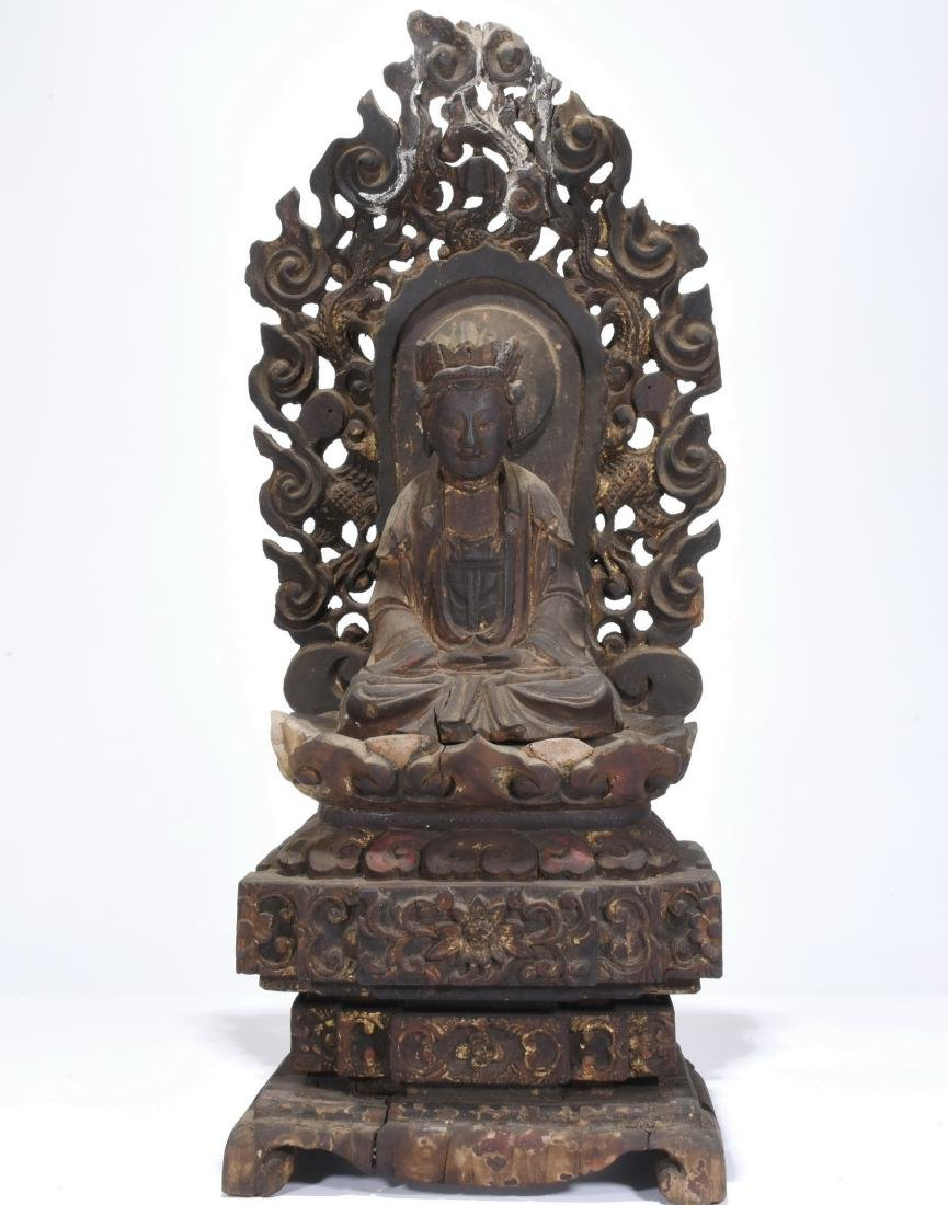 Chinese carved wood guanyin
