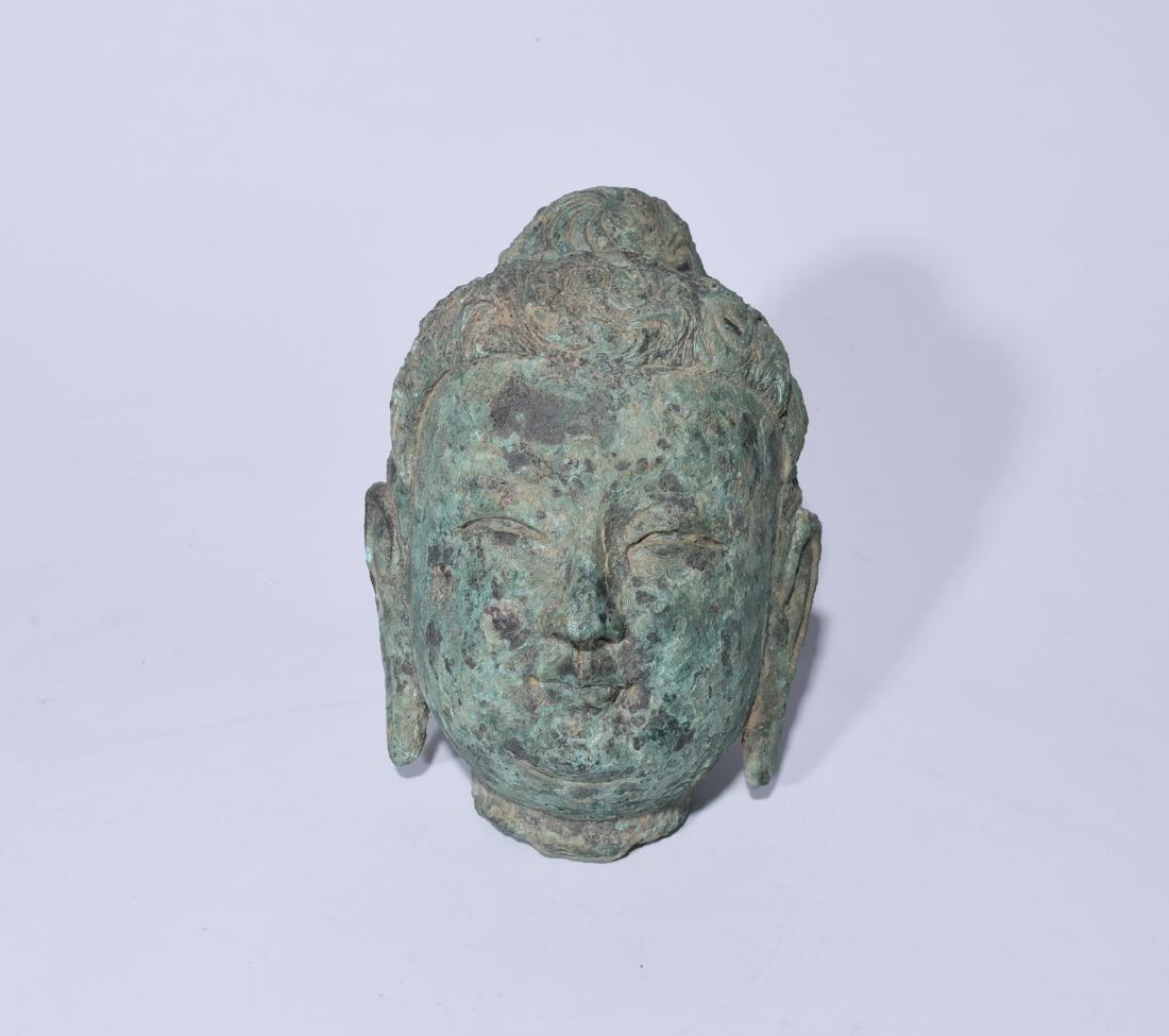 Chinese Bronze Buddha Head - 2