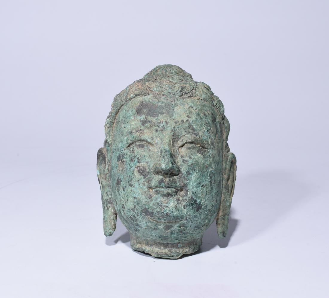 Chinese Bronze Buddha Head - 3