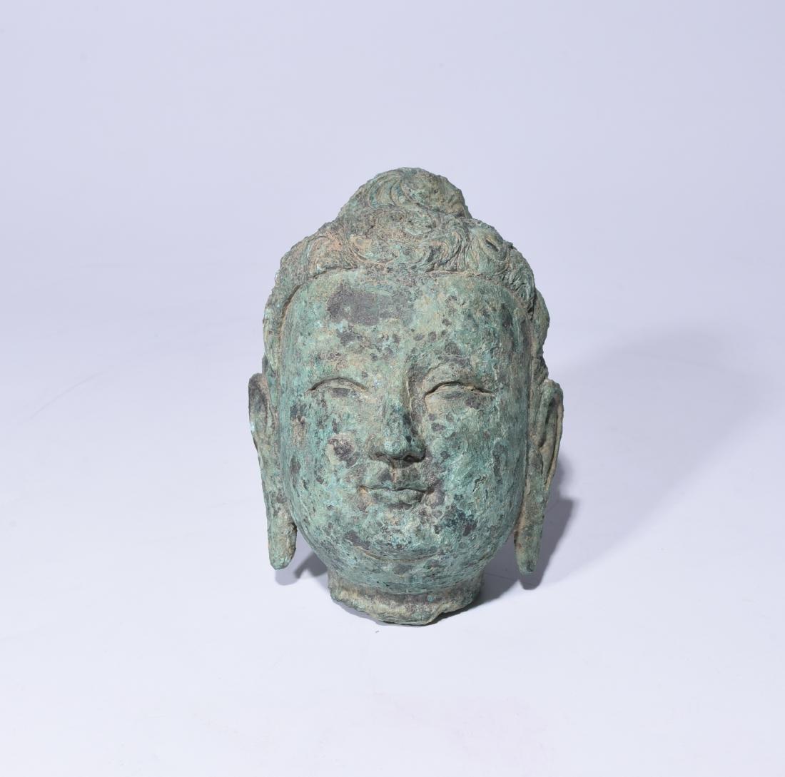 Chinese Bronze Buddha Head - 4
