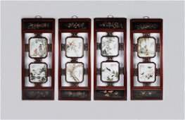 A Set of Four Chinese Porcelain  Hardwood Panels
