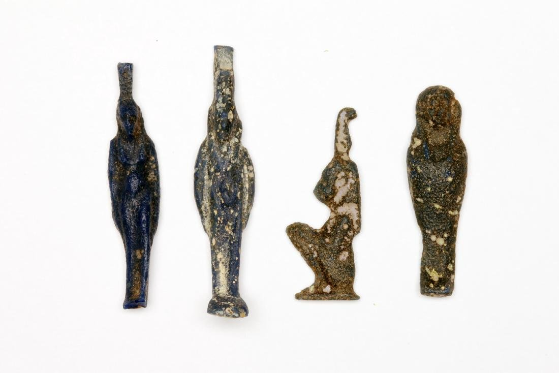 A Group of 4 Egyptian Glass Deity Amulets