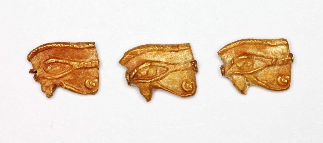 A Group of 3 Egyptian Gold Wedjat Eye Amulets - 2