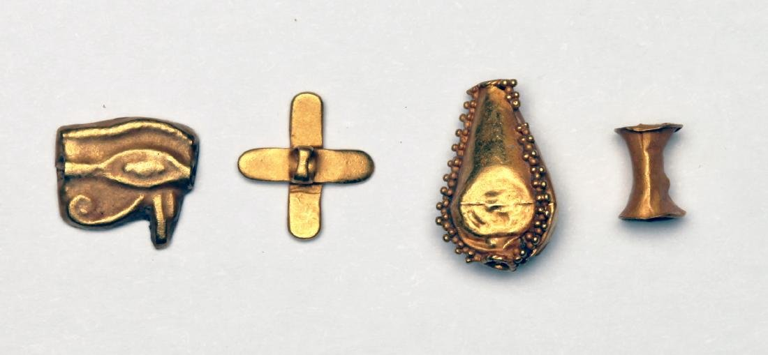 A Group of 4 Egyptian Gold Jewelry Elements