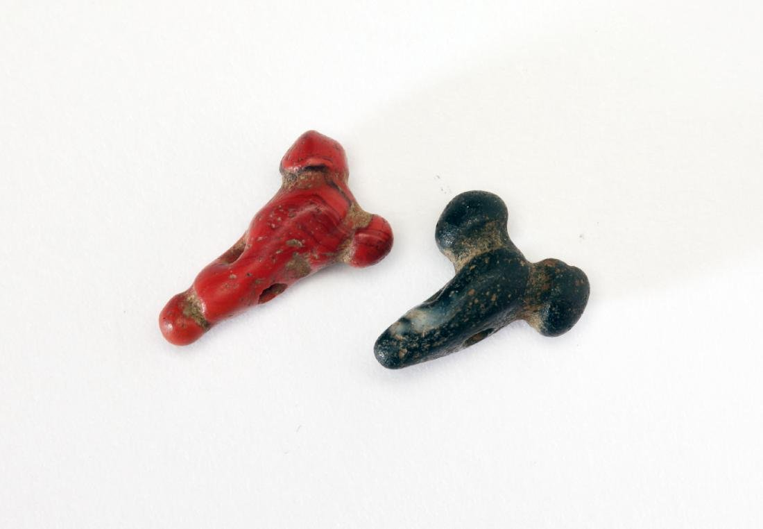 A Group of 2 Egyptian Glass Phallic Amulets - 2