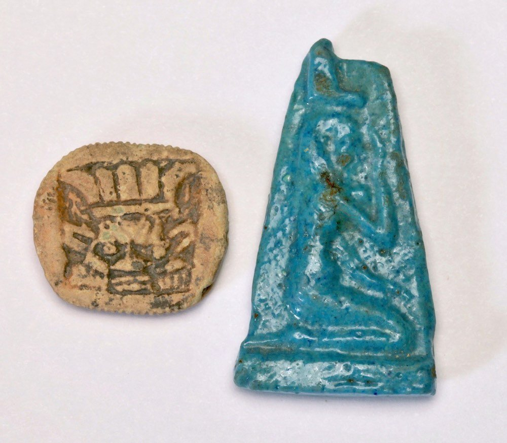 An Egyptian Faience Plaque and An Amulet