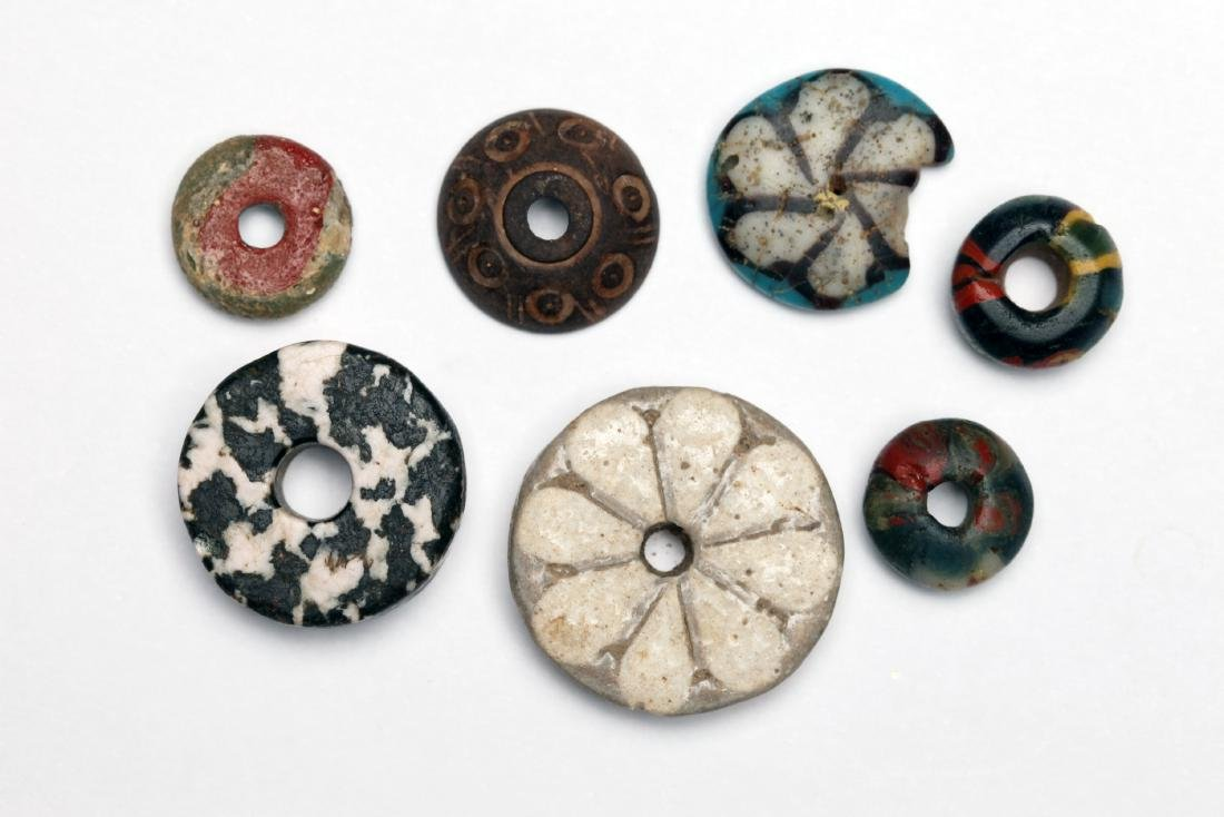 A Group of 7 Egyptian Mosaic Glass Stone and Wood Beads