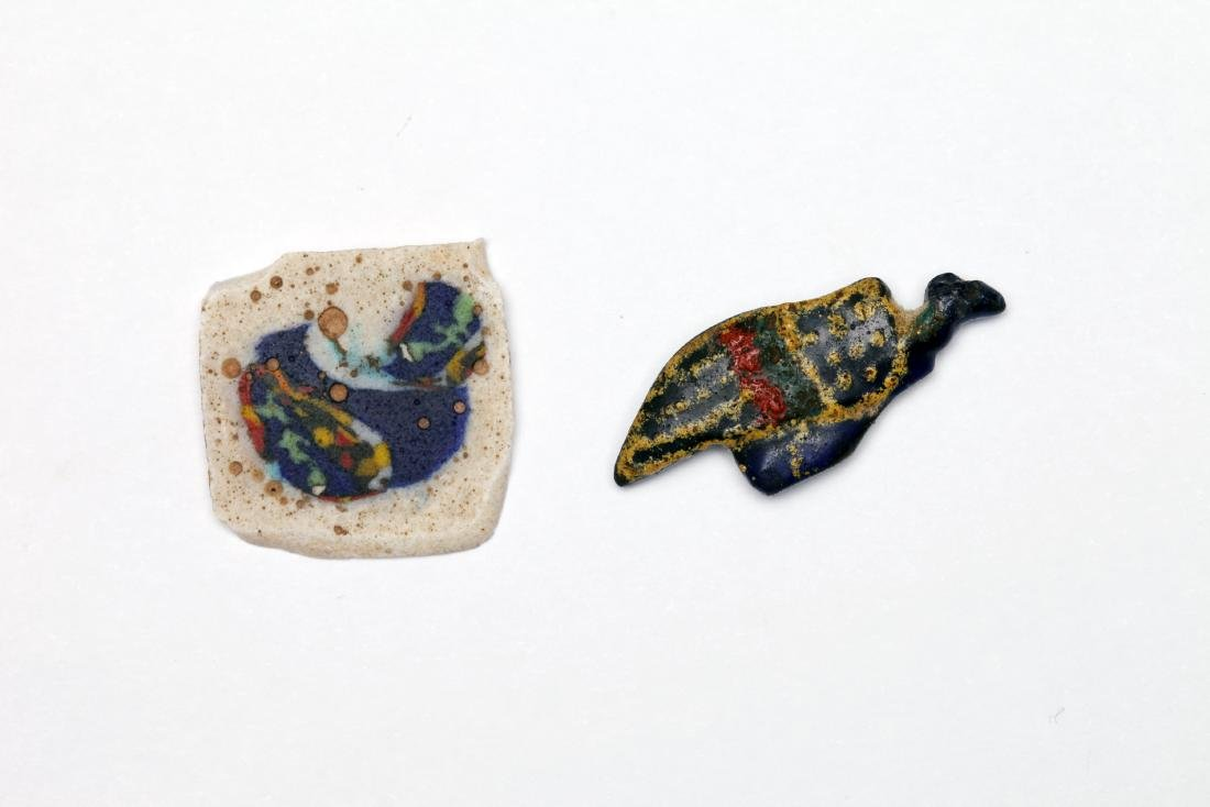 A Group of 2 Egyptian Glass Inlay Plaques of Birds