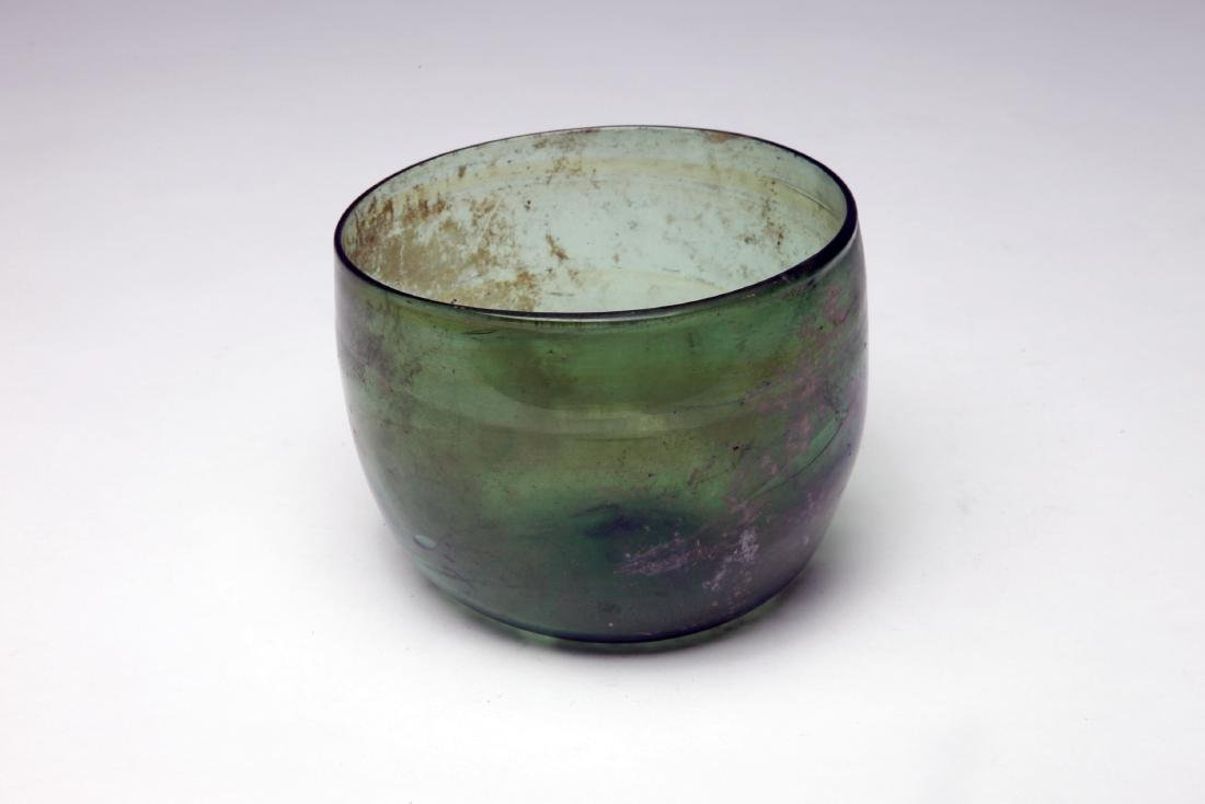 A Large Roman Coptic Green Glass Bowl