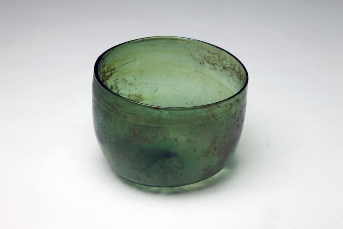 A Large Roman Coptic Green Glass Bowl - 2