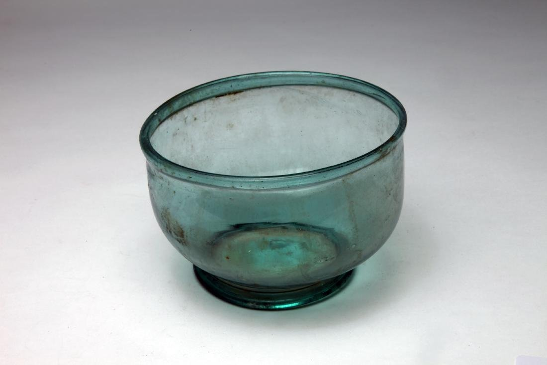 A Large Blue Glass Bowl