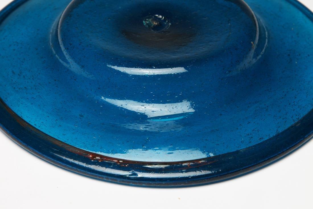 A Large Roman Blue Glass Plate - 2