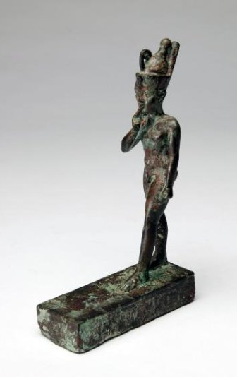 An Egyptian Bronze Figure of Striding Harpocrates - 2