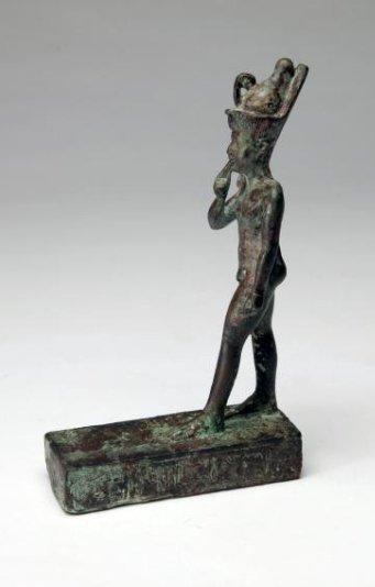 An Egyptian Bronze Figure of Striding Harpocrates - 3