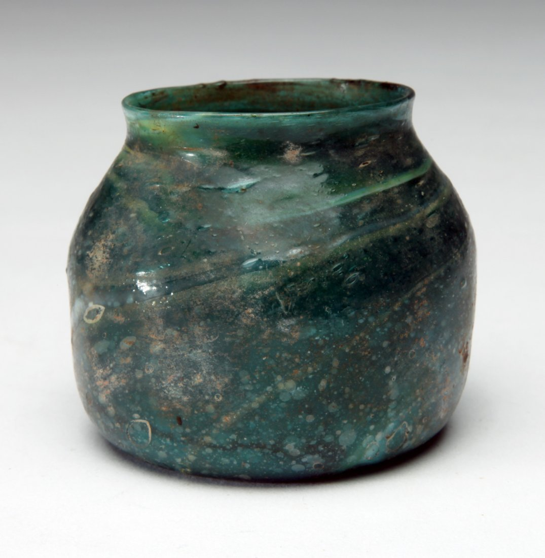 An Ancient Blue -Green Glass Jar