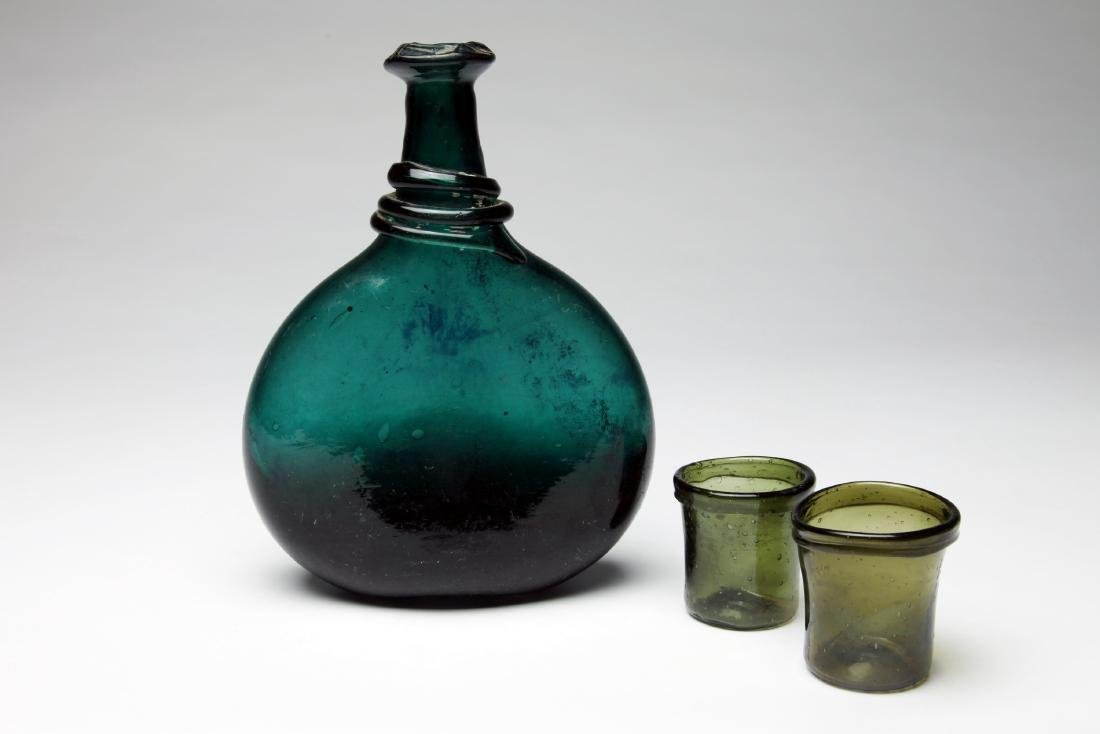 A  Large Islamic Glass Bottle and 2 Cups