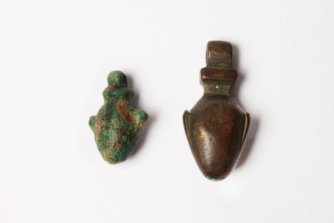 A Group of 2 Egyptian  Bronze Heart Amulets