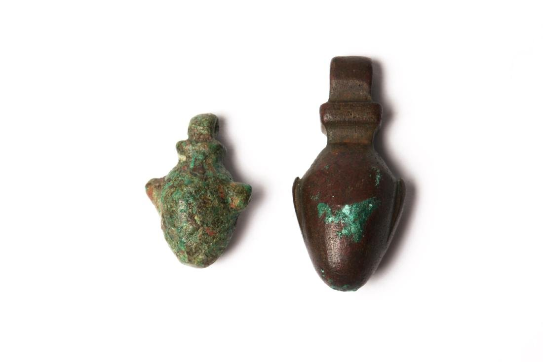 A Group of 2 Egyptian  Bronze Heart Amulets - 2