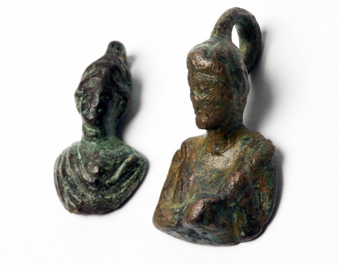 2 Roman Bronze Figural Weights