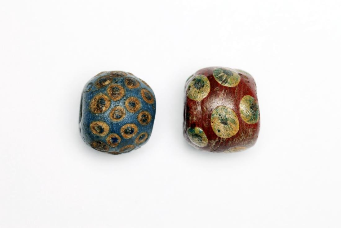 A Group of 2 Massive Ancient Glass Eye Beads - 2
