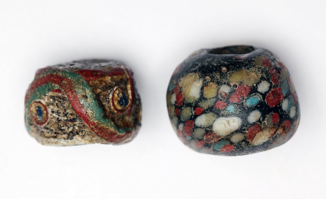 A Group of 2 Large Ancient Glass Beads