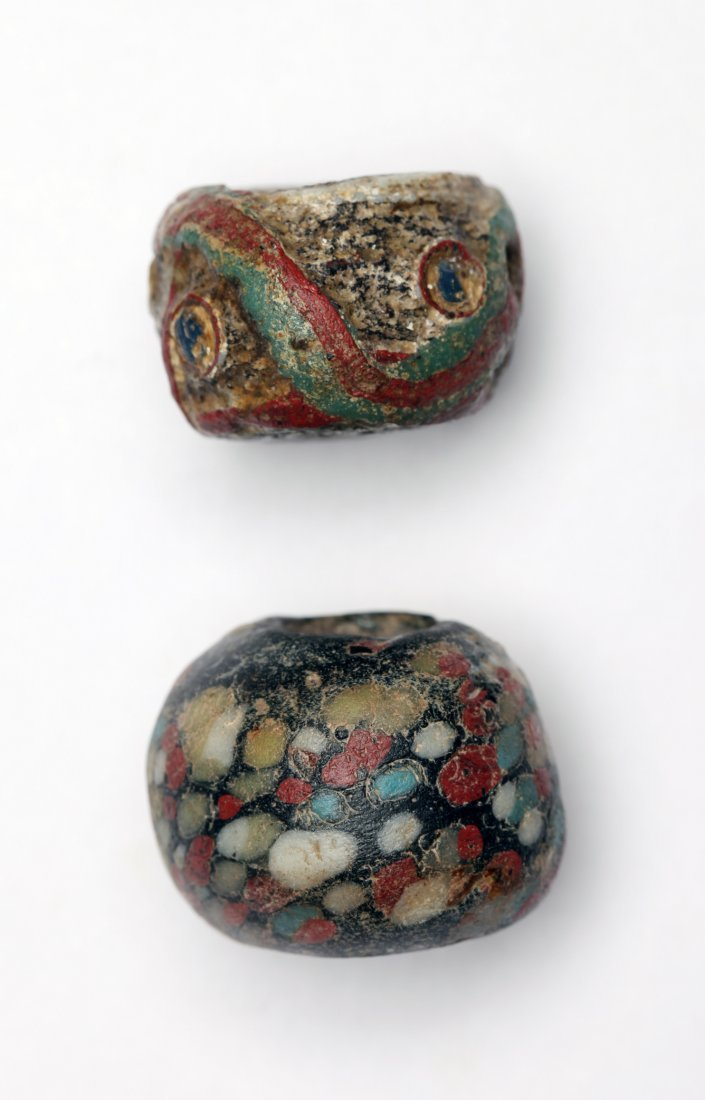 A Group of 2 Large Ancient Glass Beads - 2