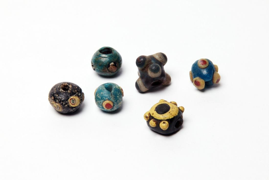 A Group of 6 Ancient Mosaic Glass Eye Beads