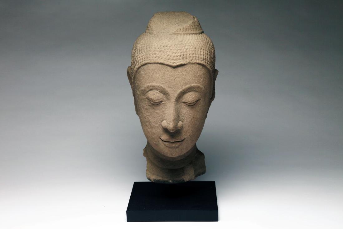 A Colossal Thai Stone Head of Buddha