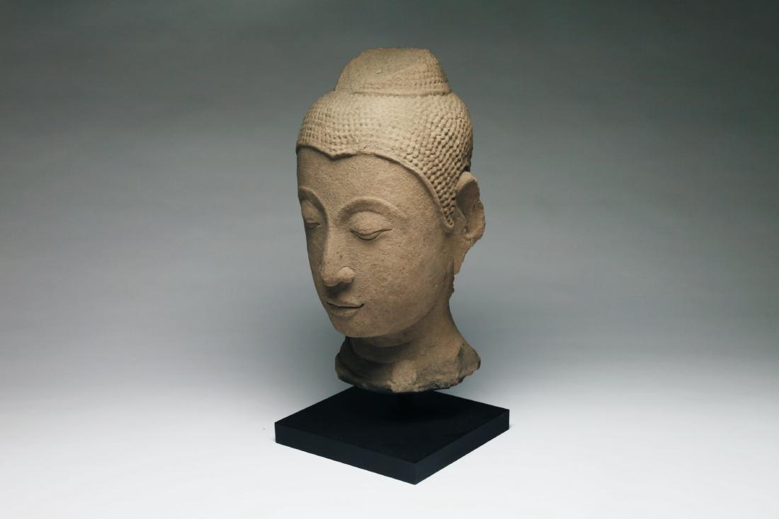 A Colossal Thai Stone Head of Buddha - 2