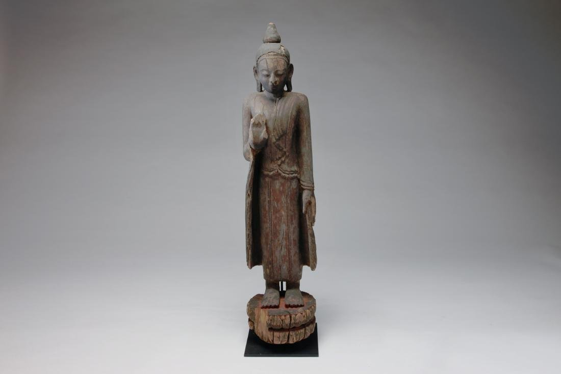 A Burmese Wood Figure of Buddha