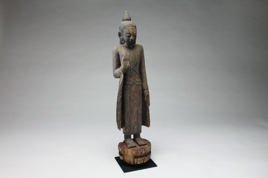 A Burmese Wood Figure of Buddha - 2