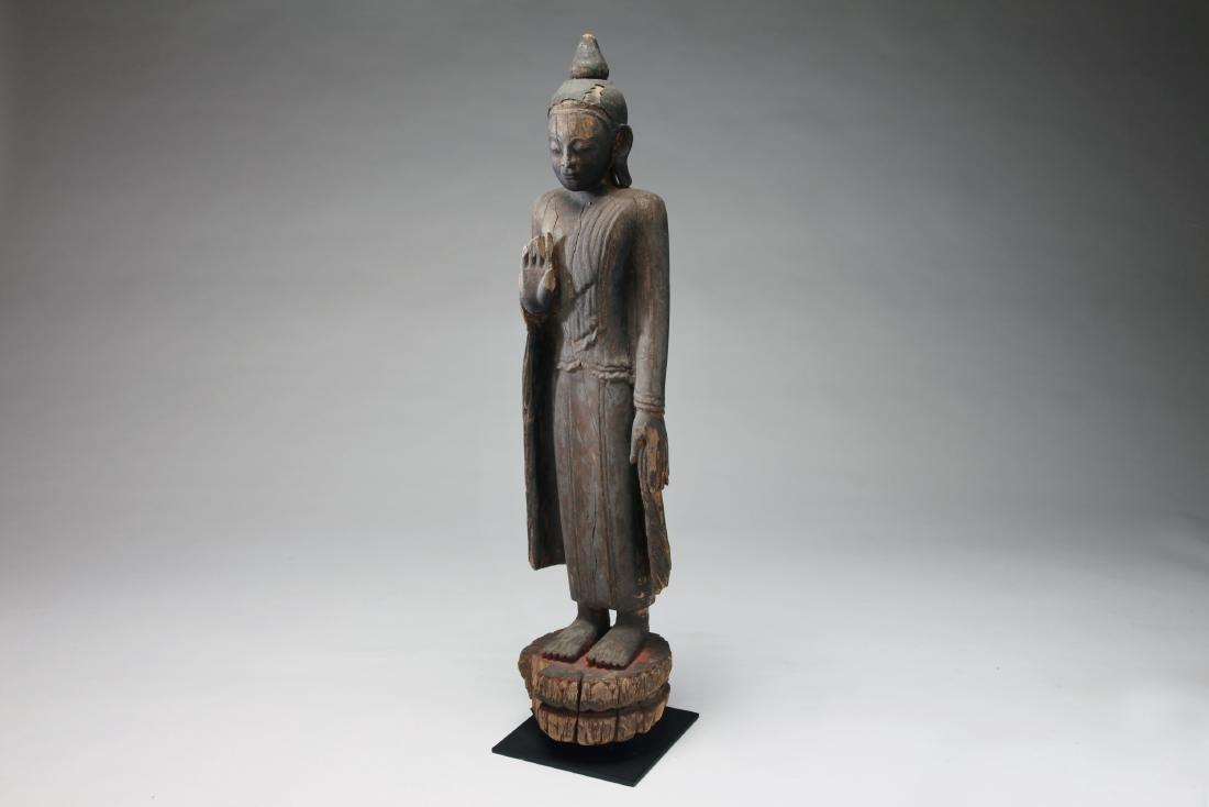 A Burmese Wood Figure of Buddha - 3