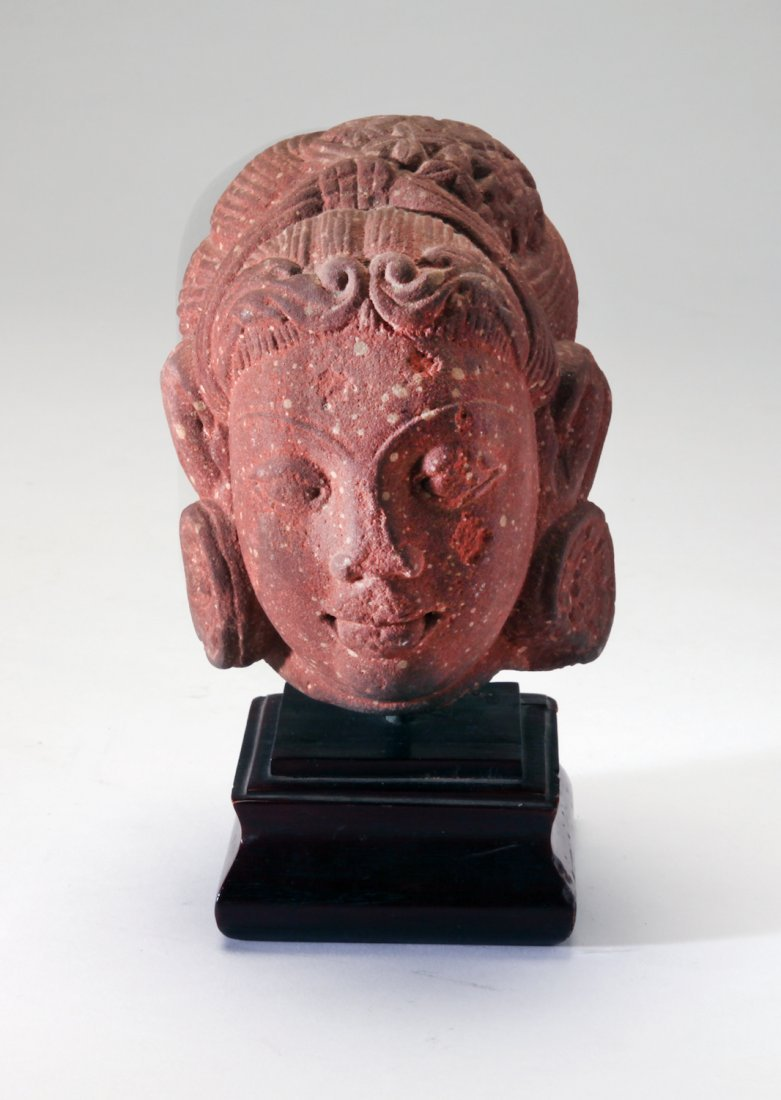 A Mottled Red Sandstone Head of Goddess - 2