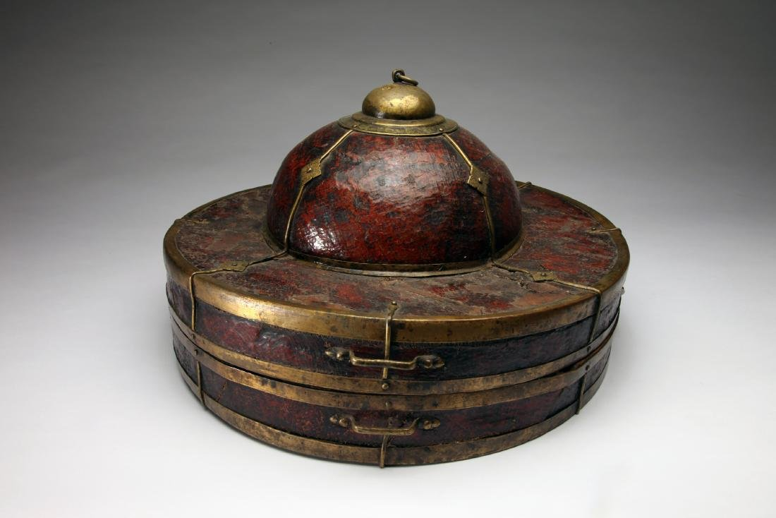 A Tibetan or Chinese Hat Box - 3