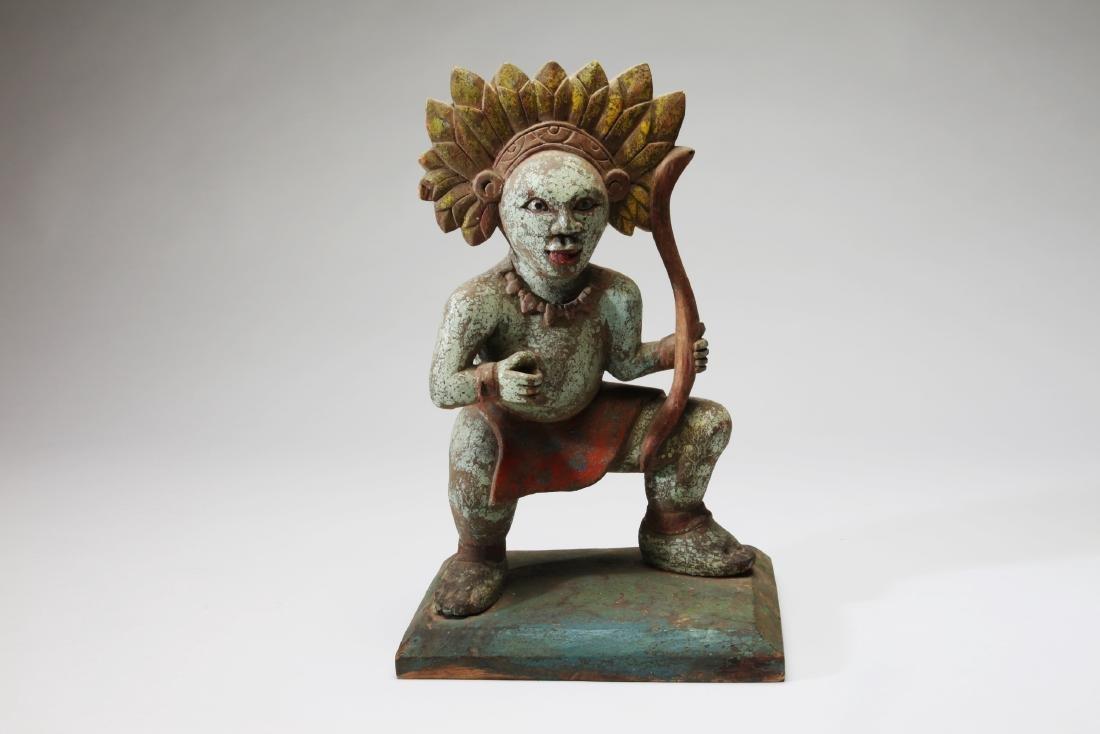 A Polychrome Wood Figure of Rama (?)