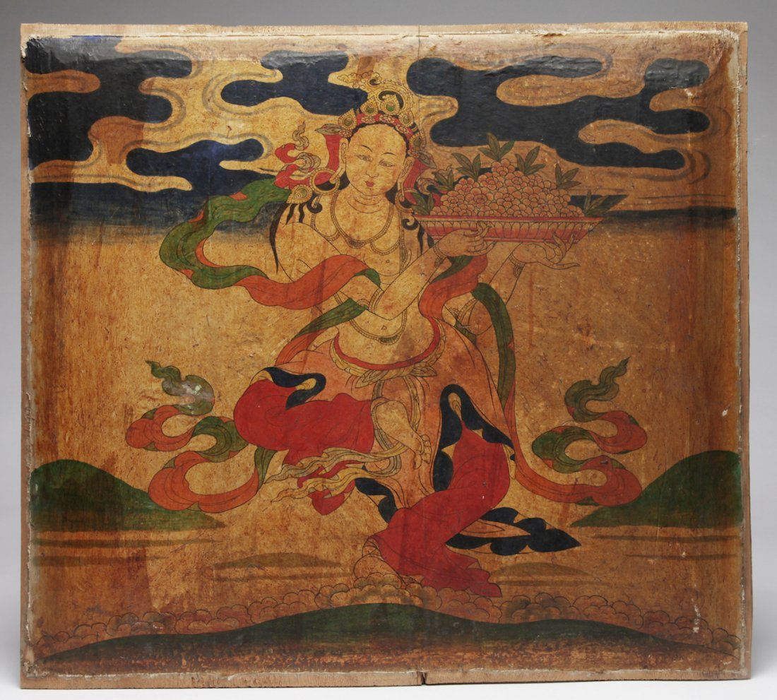 A Tibetan Double Sided Polychrome on Wood Panel