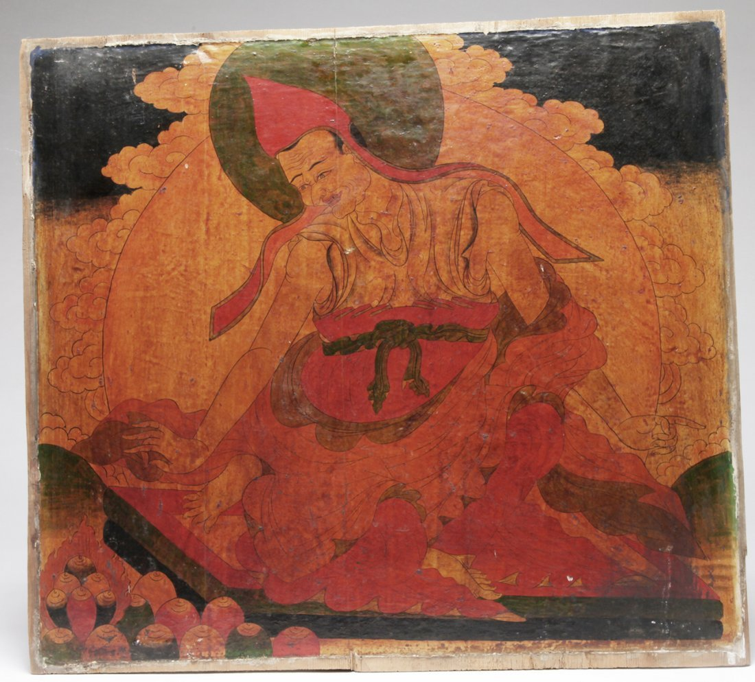 A Tibetan Double Sided Polychrome on Wood Panel - 2