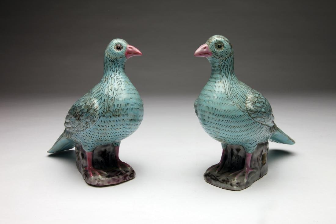 A Pair of Chinese Glazed Ceramic Doves