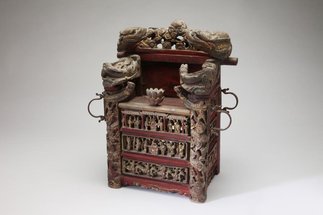 An Unusual Chinese Gilt wood Shrine/Throne