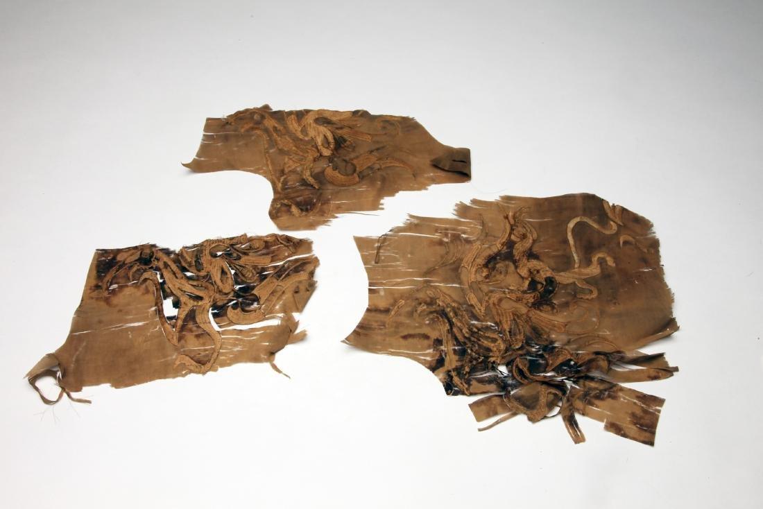 3 Rare Han Dynasty Silk Fragments, ex Ellsworth