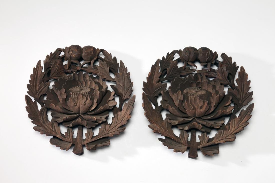 A Pair of Japanese Wooden Temple Medallions, Ex MFA