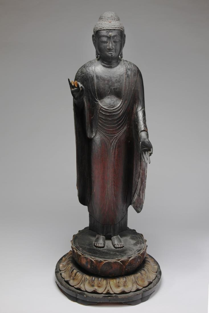 A Large Japanese Wood Figure of Buddha