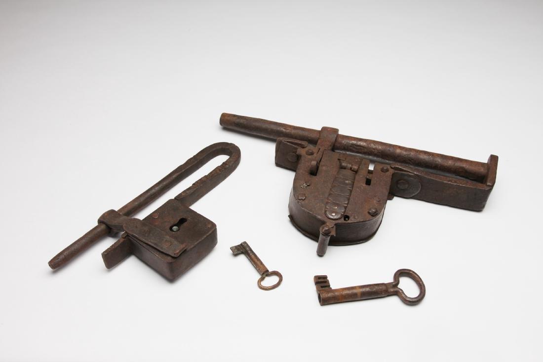 2 Massive Iron Gate Locks with Keys..ex: Museum.